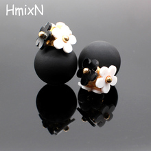Buy 2016 New flower Earrings Women double two side Brincos simulated pearl ball Mujer boucle Jewelry Women korea stud Earrings for $1.22 in AliExpress store