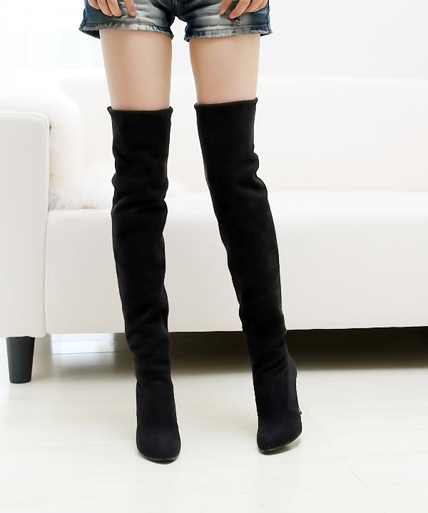 Autumn winter comfortable two ways elastic scrub stiletto gaotong over-the-knee long-barreled boots plus size - Fashion Women's store