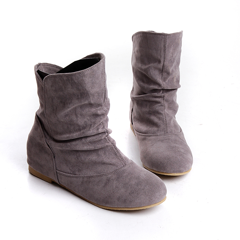 Ladies Flat Suede Ankle Boots - Yu Boots