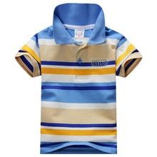 New 2015 Summer Fashion 1 7Y Child Baby Boy Stand Collar Striped T shirt Casual Kids