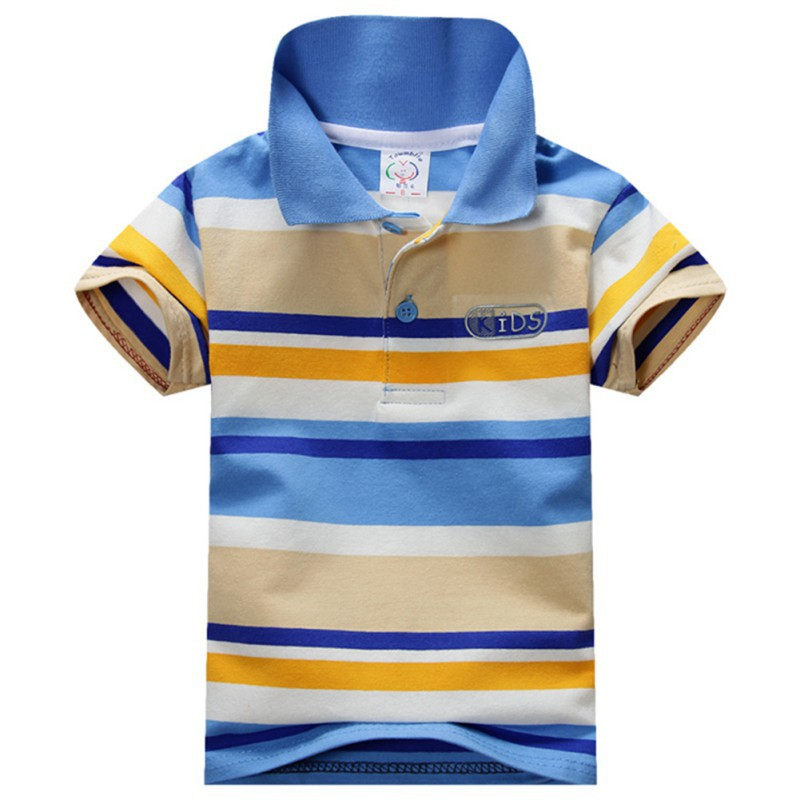 New 2015 Summer Fashion 1-7Y Child Baby Boy Stand Collar Striped T-shirt Casual Kids Tops Tee Polo Shirt Hot(China (Mainland))