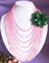 Free ship!!! Unique New wedding jewelry pink round jade green jade flower necklace earring set if order $100 or more,DHL free(China (Mainland))