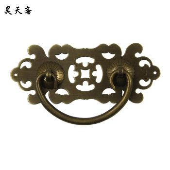 2016 Chinese antique furniture Cabinet Knobs And Handle Bronze Hollow Pattern Drawer Desk Door Pull Handle Knob Hardware HTD-109(China (Mainland))