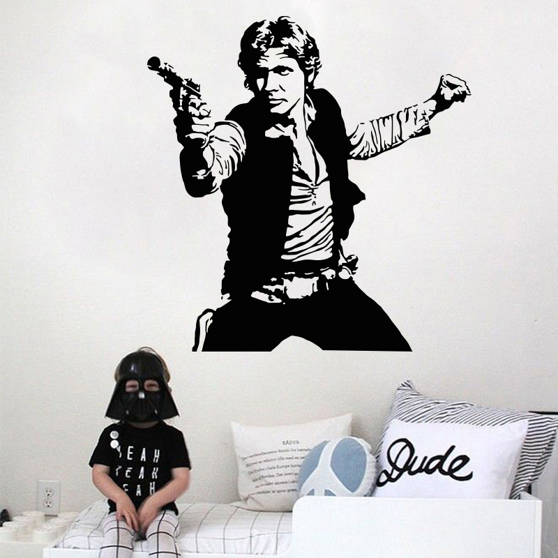 Art Design Han Solo 3D Wall sticker home decoration Vinyl Star Wars decals removable house decor DIY Movie characters for room(China (Mainland))
