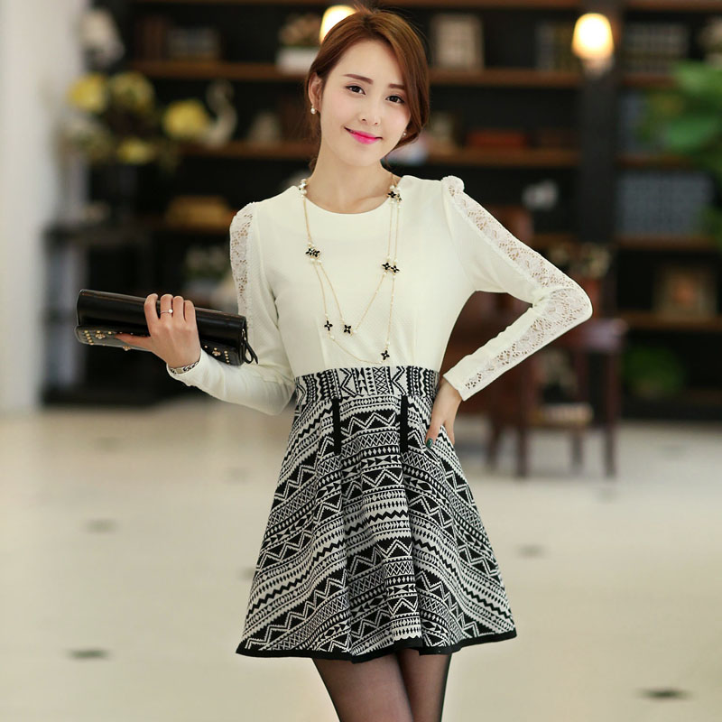 Brand 2015 New Fashion Style Casual Slim Long Sleeve Women Summer Dress Chiffon Lace Sheer Dresses Black White - Good faith store