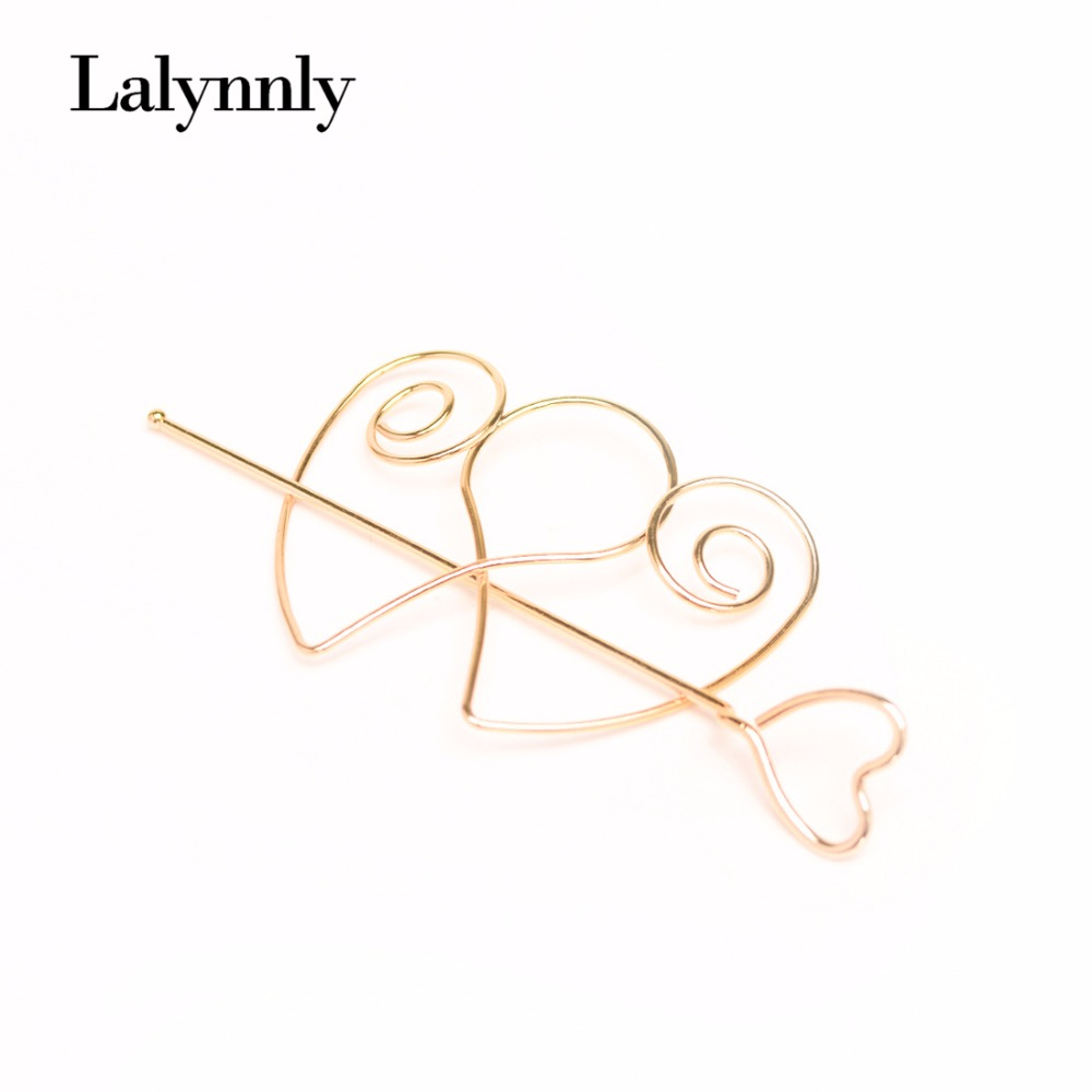 New Hair Sticks Women Wedding Hair Jewelry Accessories Treads Gold Color Heart Hairpins For Women Girl Party Jewelry F00281(China (Mainland))