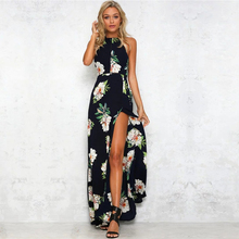 Buy Sexy split halter floral print long dress Women 2017 summer backless evening party maxi dress Hollow dresses vestidos p40 for $17.90 in AliExpress store