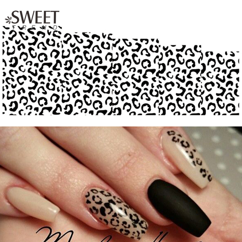 1Sheet Sexy Leopard Nail Art Water Transfer Stickers Black/White Full Wraps Manicure Tools Watermark Nail Tips Decals B304(China (Mainland))