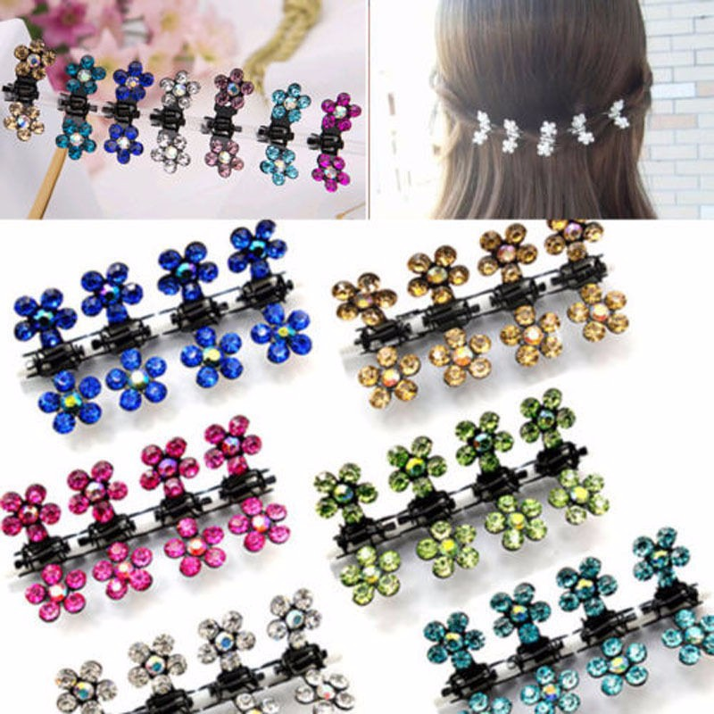 12 PC Crystal Flower Mini Claw Clamp Hair Clip Hair Pin NEW Barrette Hair Accessories for Baby Girl Lady Hair Clips