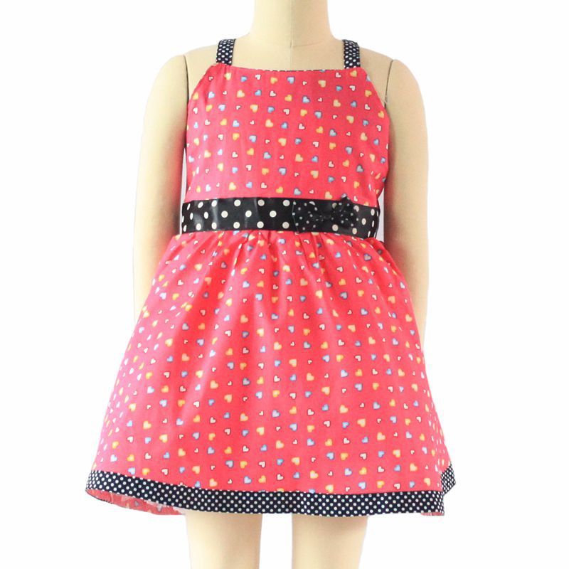 Children Clothing cute love print bow A line pink cotton