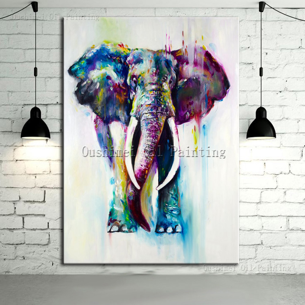 Hand Painted Color Animals Oil Painting Hang Paintings Modern Elephant Picture For Home Decor Running Water Canvas Deer Painting(China (Mainland))