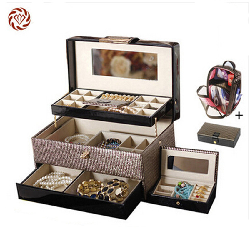 luxury Gold bling leather Jewelry Box Portable Lockable Makeup Storage Case Ornaments Organizer with Mirror Mother's Day gift(China (Mainland))