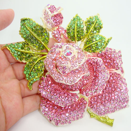 "5"" Holy Rose Green Pink Bud Leaf Crystal Brooch Pink Rhinestone Flower(China (Mainland))"