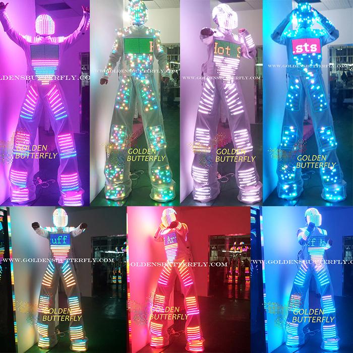 led clothing 2015 show hot robot helmet glowing stilts led light suits men clothes with. Black Bedroom Furniture Sets. Home Design Ideas