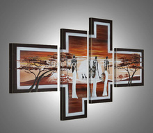 Hand Painted AfricaLandscape Oil Painting On Canvas Beauty Desert Modern Painting Art Home Decoration 4pcs/set Free Shipping(China (Mainland))