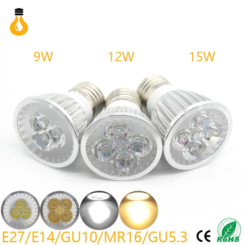 E27/GU10/GU5.3/MR16 AC12/85-265V 12W 15W High Bright LED Spotlight Bulb Light Real Watt 110/220V Lamp Bombillas Cool Warm white(China (Mainland))
