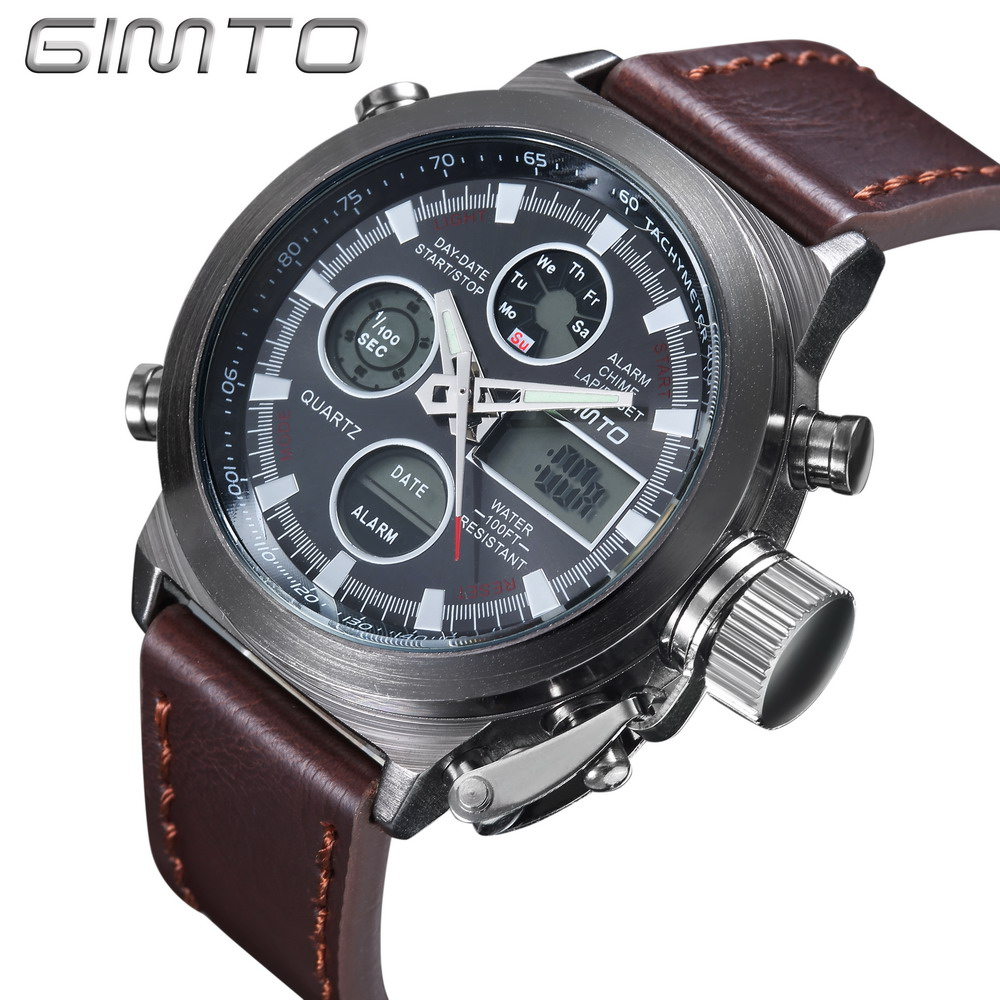 Chic GIMTO Brand Multi-Function Men LED Digital Sports Watches Alarm Date Chronograph Military Wriatwatch Montre Homme Relojes