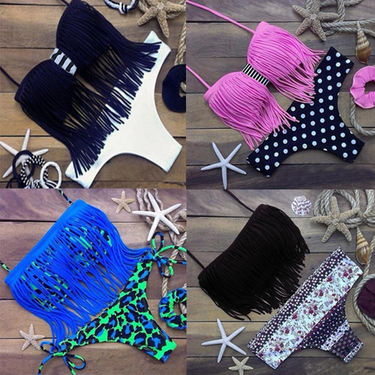 2016 Fashion Fringe Swimsuit Tassel Bikini Women Midriff Top Swimwear Floral Leopard Bathing Suits Halter Biquini Black Tankini(China (Mainland))