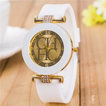 Fashion Brand Gold sport Quartz Watch Women dress watches casual Crystal Silicone Wristwatches montre homme relojes hombre Hot