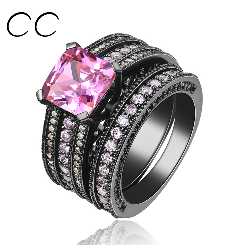 3 Carat Pink CZ Diamond Rings For Women 3pcs/set Black Gold Plated Engagement Jewelry Ring Bijoux Fashion Accessories Sale CC116(China (Mainland))