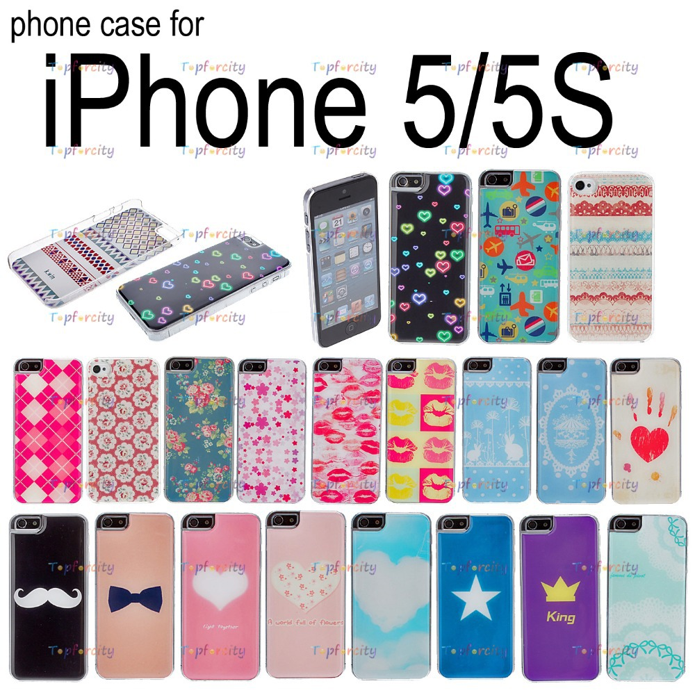 Flowers & heart Drawing Pattern Epoxy Design Hard Case for apple iPhone 5/5S with Transparent Case(China (Mainland))