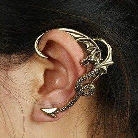 Free Shipping, C050,New Arrive Punk Vintage Gothic Dragon Stud Earring Ear Hook  Ear Cuff, Wholesale