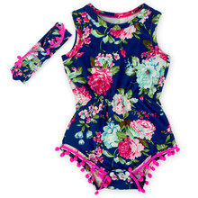 Navy Blue Pink Hot Pink Floral Flower Pom Rompers For baby girls shabby chic romper, baby playsuit, baby floral romper(China (Mainland))