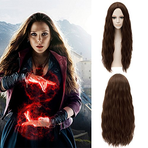 The Avengers Scarlet Witch Wanda Maximoff Cosplay Wig Brown Wavy Hair