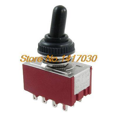 AC 2A/250V 6A/125V ON/Center OFF/ON 4P2T 4PDT 12 Pins Toggle Switch + Rubber Cap(China (Mainland))