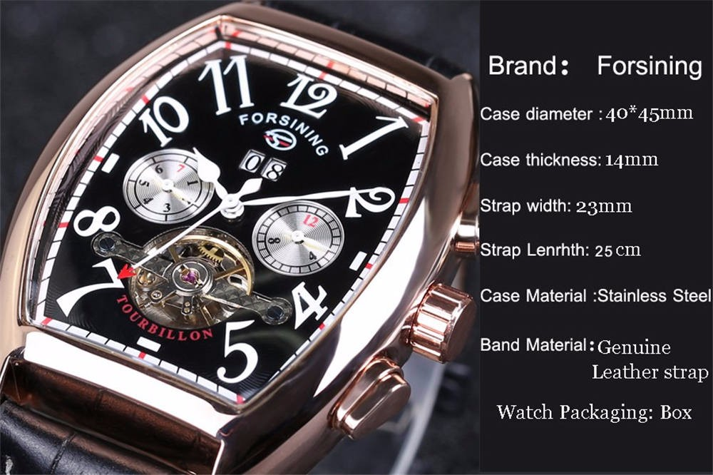 Fashion World Tonneau Frame Watches Design Forsining Mens Top Brand Luxury Automatic Mechanical Wristwatches Male Business Clock