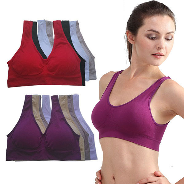Retail Womens Sports Bra Vest Padded Crop Tops Underwear 7 Colors No Wire-rim Bras(China (Mainland))