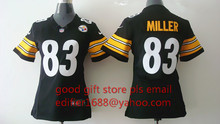 100% stitched women Pittsburgh Steelers ladies 83 Heath Miller 84 Antonio Brown Embroidery Logos size S to XXL(China (Mainland))
