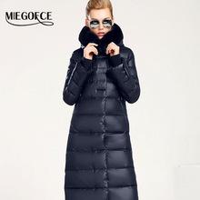 Women Down Coat Jacket Medium Length Woman Down Parka with a Rabbit Fur Winter Coat Women MIEGOFCE 2016 New Winter Collection(China (Mainland))