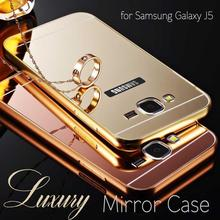 Phone Case For Samsung Galaxy J5 / J7 case Mirror Metal Aluminum Frame & Acrylic Back Cover Cases For Samsung Galaxy J500 / J700