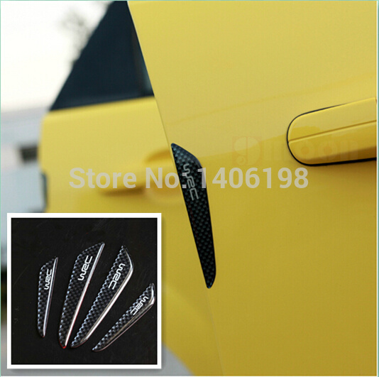 Free shipping Car Door Protector Fiber Door side Edge Protection Guards Stickers for Any car Black Silver(China (Mainland))