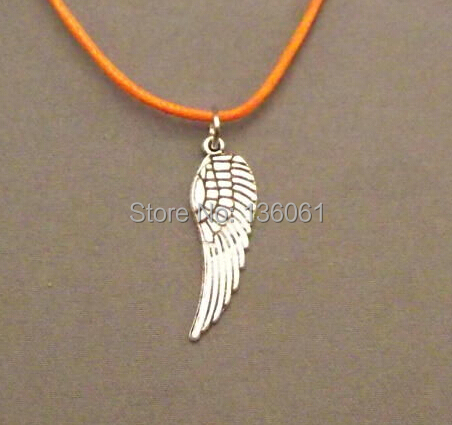 Vintage Silvers Angels Wing Charms Statement 10PCS Orange Wax Line Choker Necklace Pendants Women Jewelry Gifts Accessories X441(China (Mainland))