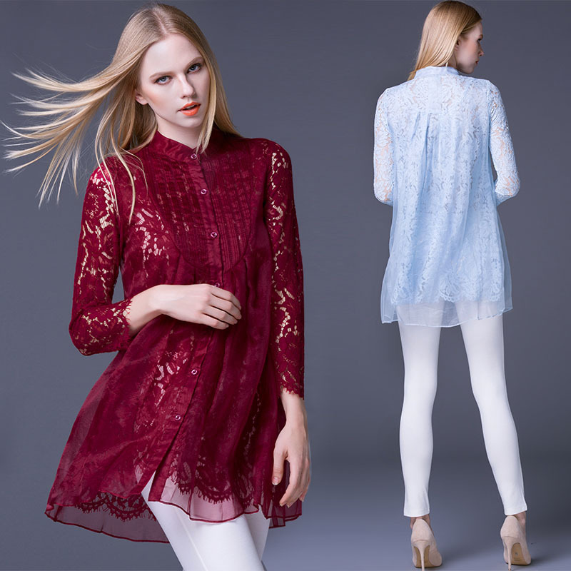 Europe 2016 new women long sleeved shirt female lace openwork silk shirt blouse spring brand in Europe and America