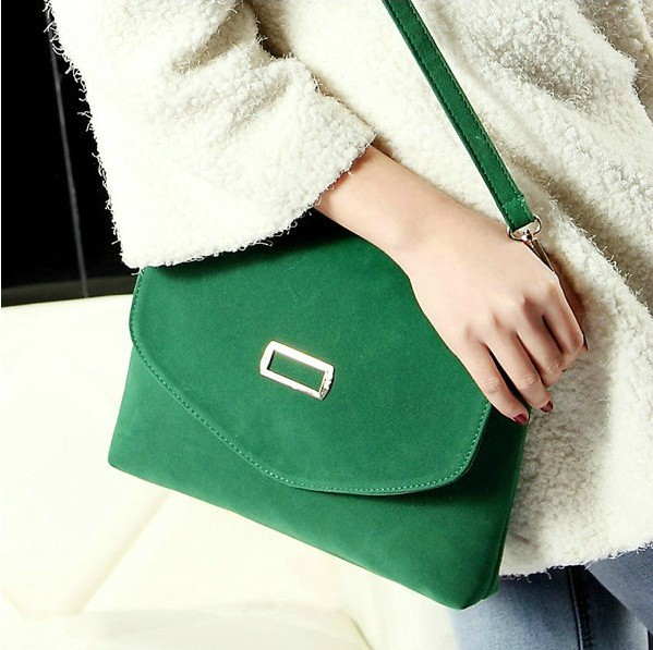 Women's retro handbag Suede / PU leather portable shoulder bag shopping day clutches wristlets evening bags totes candy colors(China (Mainland))