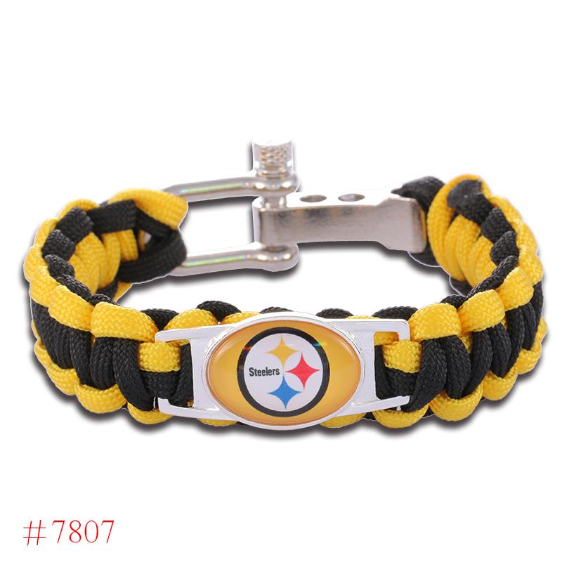 NFL Pittsburgh Steelers Paracord Bracelet Adjustable Survival Bracelet Football Bracelet , Drop Shipping! 6Pcs/lot!(China (Mainland))