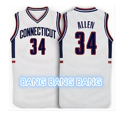 #34 Ray Allen Connecticut Huskies White 1996 Retro/throwback basketball Jersey navy blue,all name and numbers are stitched on(China (Mainland))
