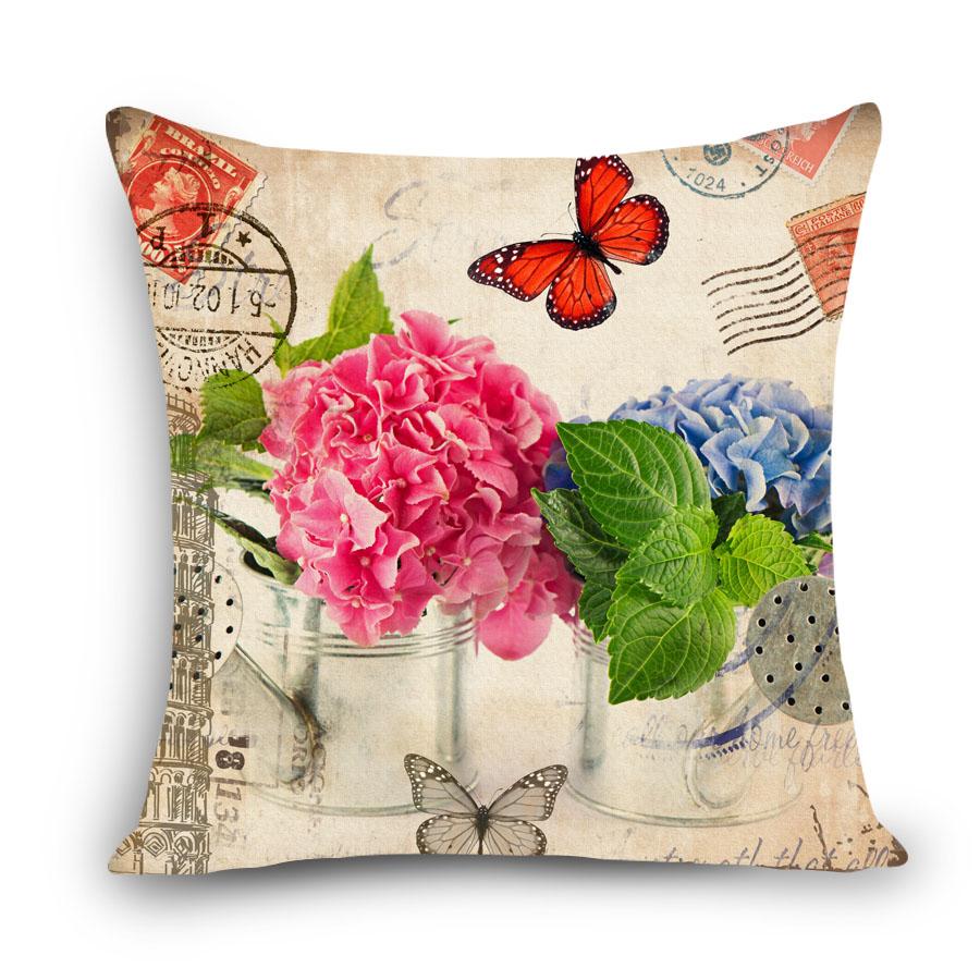 retro vintage flower printed dining chair cushion cover 45x45cm car seat cushion covers home decorative pillows - Chair Cushion Covers