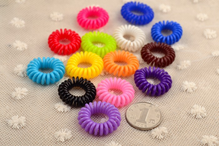 Phone line plastic hair band high elastic hair band hair accessories candy color Tousheng hair ring random color 10pcs/lots(China (Mainland))