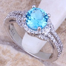Stunning Sky Blue White Topaz 925 Sterling Silver Ring For Women Size 5 / 6 / 7 / 8 / 9 / 10 Free Gift Bag S0444(China (Mainland))