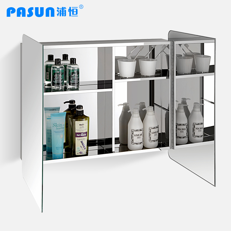 Free Shipping Stainless Steel Bathroom Cabinet Sliding Double Door Mirror Cab