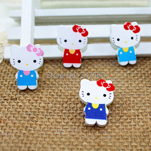 Cartoon wooden buttons children garment accessories DIY Korean button wear a bow KT cat scrapbooking sewing loose buttons wood(China (Mainland))
