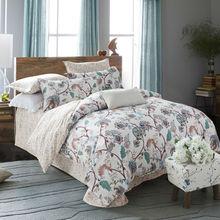 Noble 100%cotton Bedding set 4pcs queen size flowers printed bedsheet pillowcase duvet cover set bed quilt bedlinen bedclothes(China (Mainland))