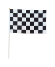 (12 pieces/lot)20*30cm Checkered flags with Plastic Flagpole,black and white chequered flag,Printed race check hand flag