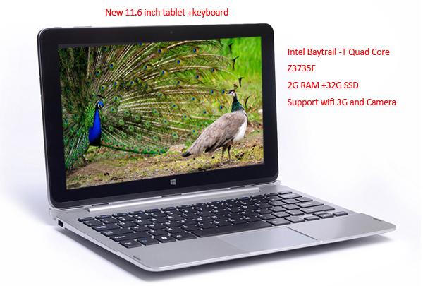"11.6"" Best Laptop Computer Notebook Windows 8 Tablet PC + Keyboard WIFI 3G Webcam Intel Quad Core 2G RAM 32G SSD Free Shipping(Hong Kong)"