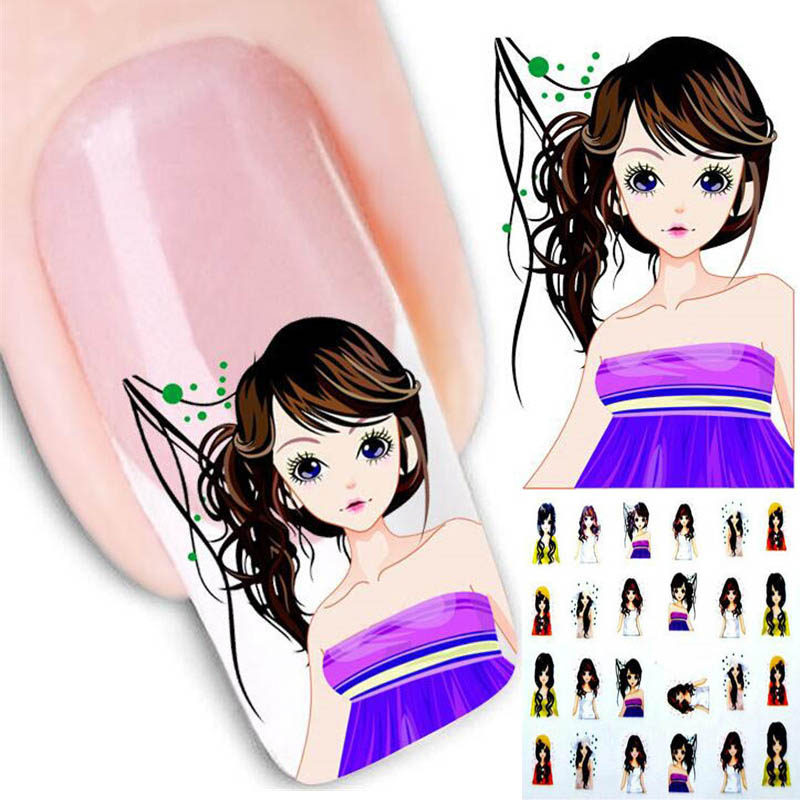 2Sheets Cute Girl Design Water Transfer Nail Art Sticker Decal Kit Foil Adhesive DlY Beauty Manicure Tips Decoration Accessories(China (Mainland))