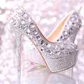 Wedding shoes women high heels crystal Fashion Bridal Dress shoes woman platforms silver rhinestone Party Prom